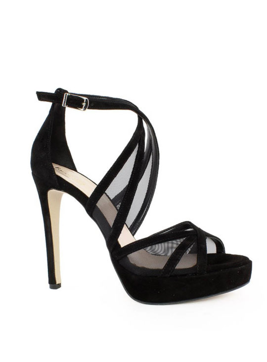 Μαύρα ψηλοτάκουνα πέδιλα Fardoulis Shoes
