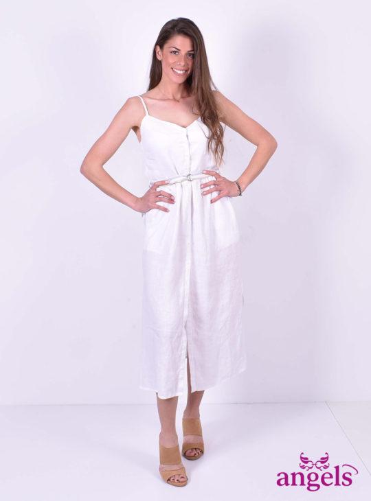 Άσπρο Λινό Φόρεμα ISO