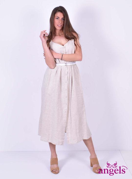 Μπεζ Λινό Φόρεμα ISO