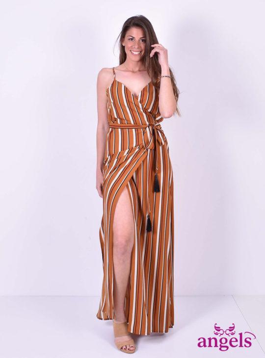 Μάξι φόρεμα ριγέ κρουαζέ||ISO FASHION