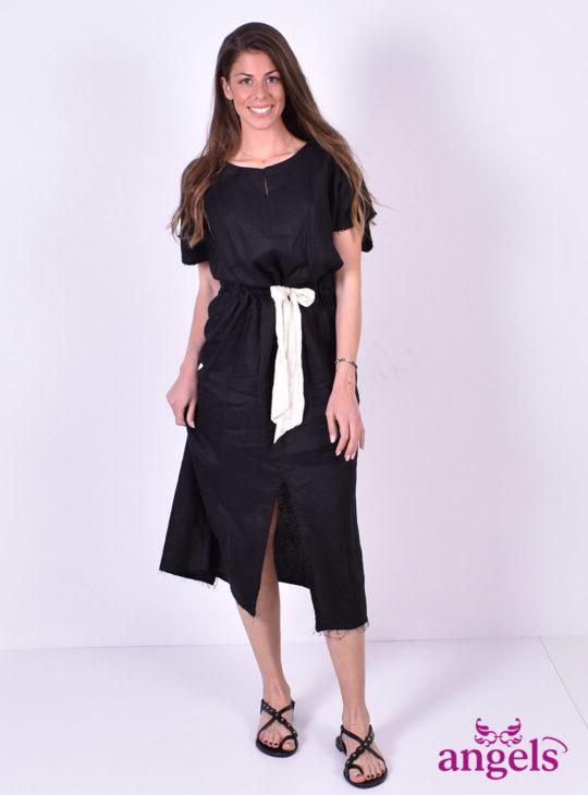 Μαύρο Φόρεμα Κοντομάνικο Λινό