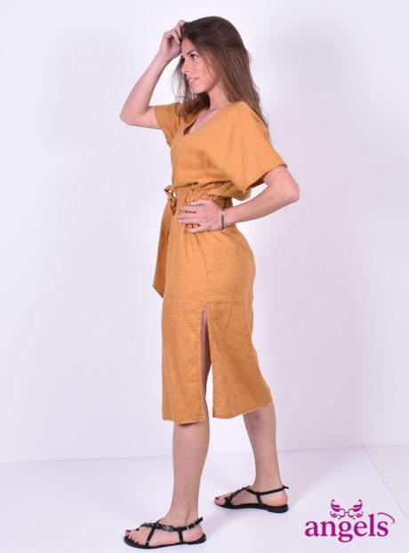 c9c08ab4f9 Λινό Κοντομάνικο Φόρεμα Ώχρα - Angels Fashion
