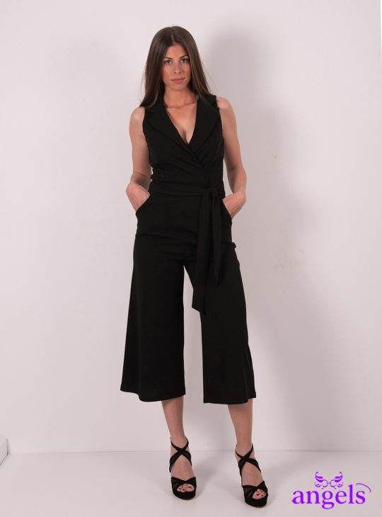 Μαύρη κρουαζέ ολόσωμη φόρμα||Ολόσωμες Φόρμες||Jumpsuits