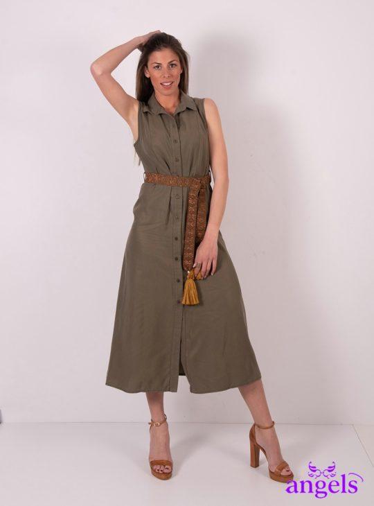 790309be165 Χακί Αμάνικο Φόρεμα Σεμιζιέ Με Ζώνη ||Φορέματα