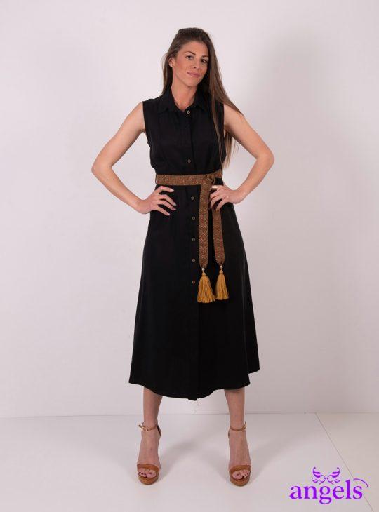 Μάυρο Αμάνικο Φόρεμα Σεμιζιέ Με Ζώνη ||Φορέματα