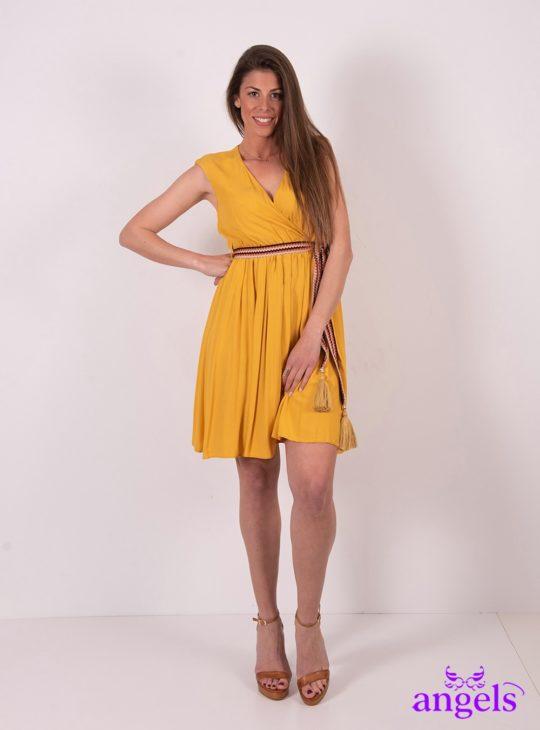 ec90ee7025d Κίτρινο κρουαζέ φόρεμα μίνι με ζώνη|| Φορέματα