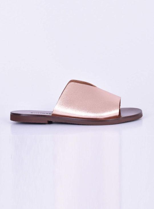 7be2e7ee3c2 Ροζ Χρυσά δερμάτινα πέδιλα/σανδάλια||Γυναικεία Καλοκαιρινά Παπούτσια