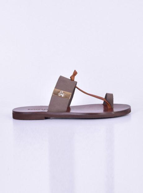 9b300ddd560 Γκρι δερμάτινα πέδιλα/σανδάλια||Γυναικεία Καλοκαιρινά Παπούτσια
