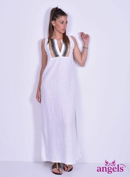 Μάξι Άσπρο Φόρεμα Με Κεντημα||NEJMA
