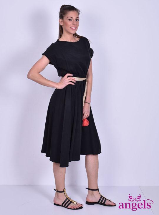 Μαύρο Φόρεμα Με Ζώνη||Γυναικεία Φορέματα||Καθημερινά Φορέματα