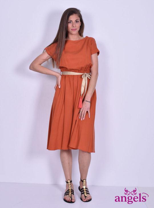 Πορτοκαλί Φόρεμα Με Ζώνη||Γυναικεία Φορέματα||Καθημερινά Φορέματα