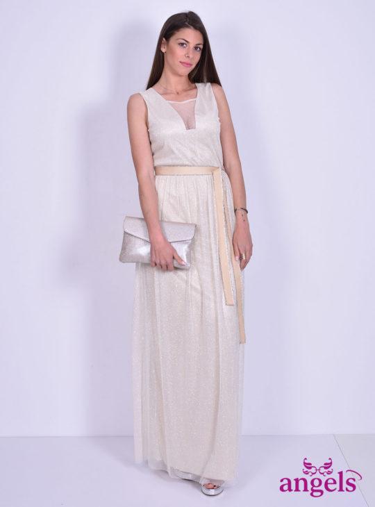 Αμάνικο Φόρεμα Με Στρας στο Χρώμα της Άμμου||Επίσημα Φορέματα