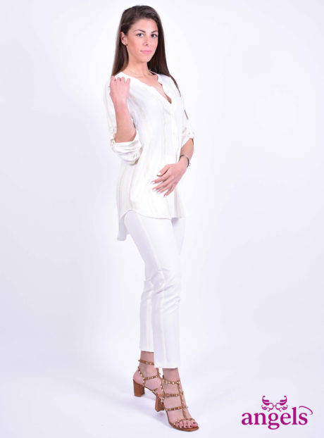69e381e61465 Ριγέ Τρουακάρ Πουκαμίσα Με V - Angels Fashion