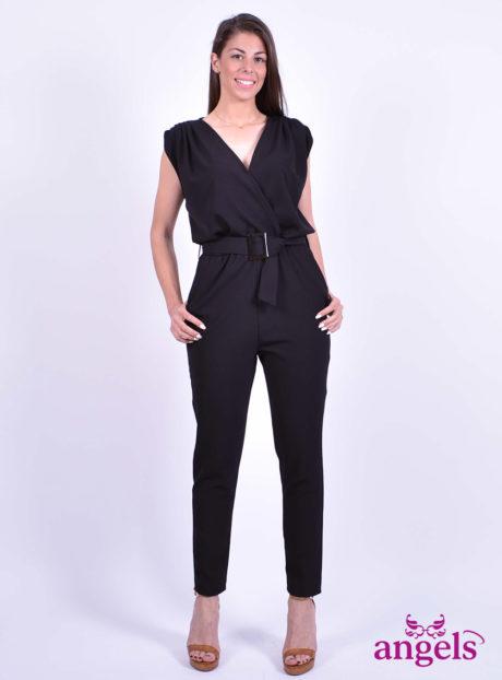 71452702a842 Μαύρη Ολόσωμη Φόρμα Με Ζώνη - Angels Fashion