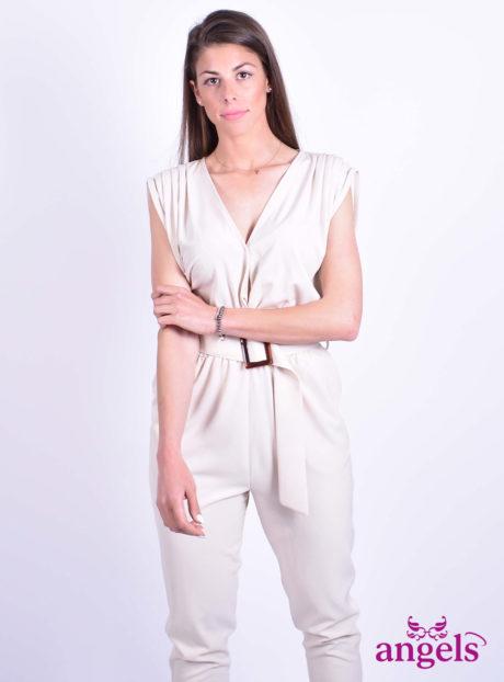 511059f28343 Μπεζ Ολόσωμη Φόρμα Με Ζώνη - Angels Fashion