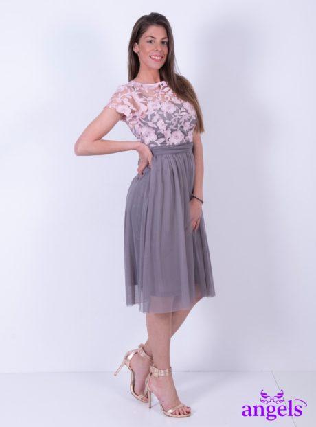 3a96f56f951 Φόρεμα Με Συνδυασμό Ροζ-Γκρι