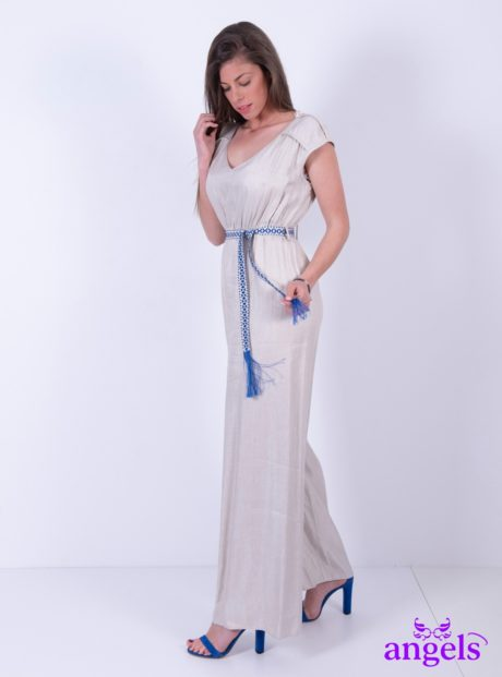 44fa0eec437 Γυναικεία Κοντομάνικη Ολόσωμη Φόρμα Μπεζ||Γυναικείες Ολόσωμες Φόρμες