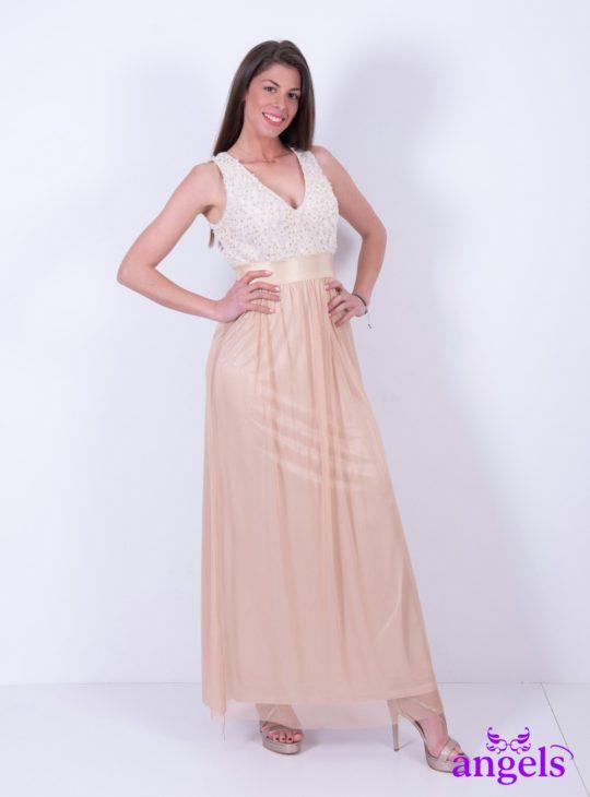 Μπεζ Μάξι Φόρεμα Αμάνικο  Γυναικεία Ρούχα  Καλοκαιρινά Φορέματα  Φορέματα για γάμους