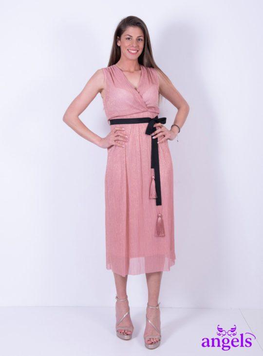 Ροζ Μίντι μεταλλιζέ Φόρεμα Αμάνικο||Γυναικεία Ρούχα||Καλοκαιρινά Φορέματα||Φορέματα για γάμους
