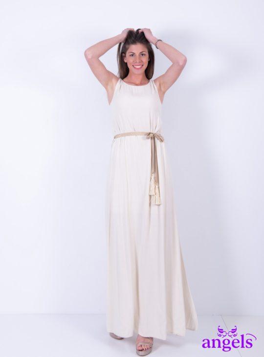 Μπεζ Μάξι Φόρεμα Αμάνικο||Γυναικεία Ρούχα||Καλοκαιρινά Φορέματα||