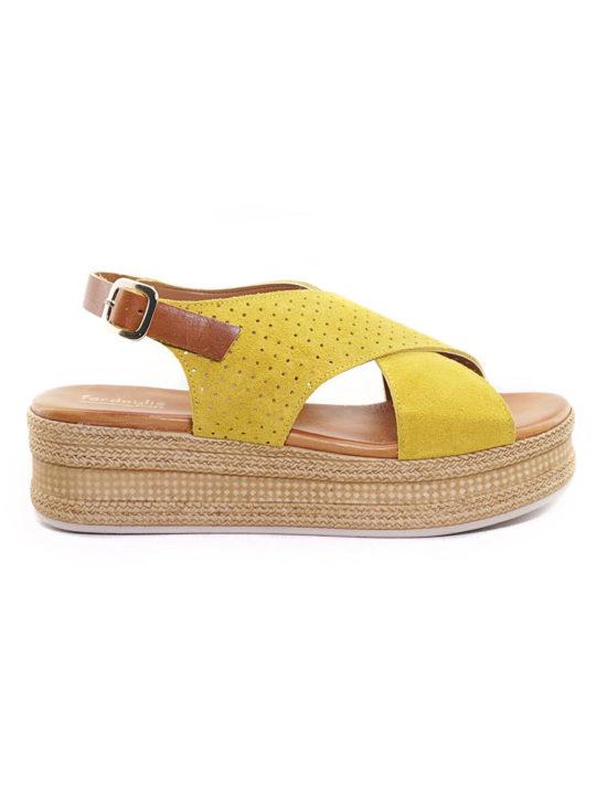 Δερμάτινη Πλατφόρμα Fardoulis Shoes 63420 Κίτρινη