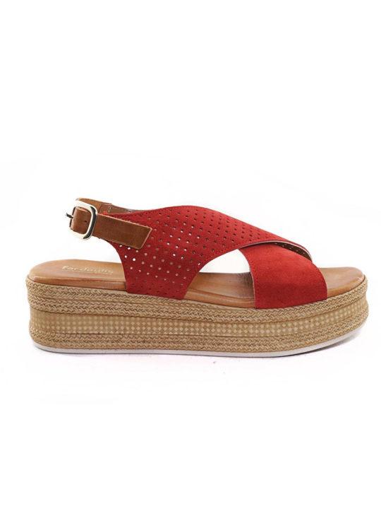 Δερμάτινη Πλατφόρμα Fardoulis Shoes 63420 Κόκκινη