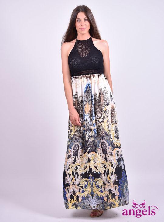 Πλεκτό Φόρεμα μαύρο εμπριμέ