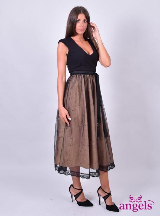 Μαύρο Φόρεμα Μιντι||Φορέματα