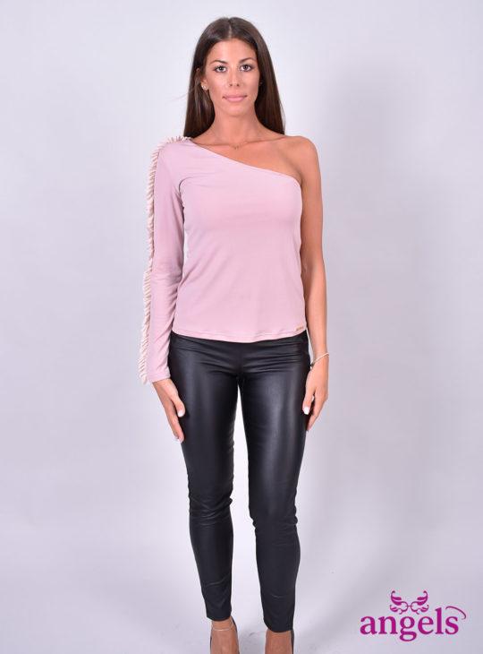 Ροζ μακρυμάνικη μπλούζα με έναν ώμο Le Vertige||Le Vertige For Angels Fashion
