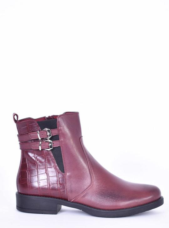 Μπορντώ Δερμάτινα Μποτάκια fardoulis shoes