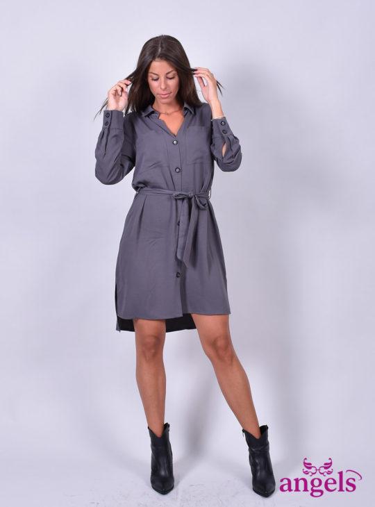 Μακρυμάνικο Φόρεμα Γκρι||Φορέματα
