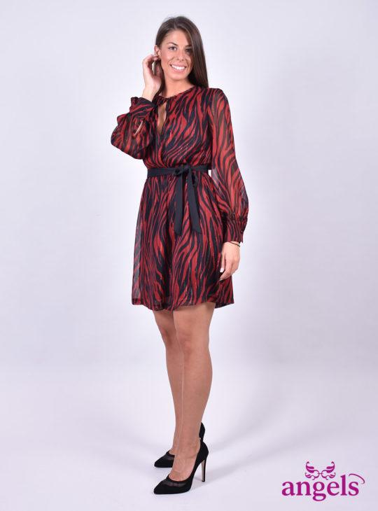 Κόκκινο Φόρεμα Zebra Print