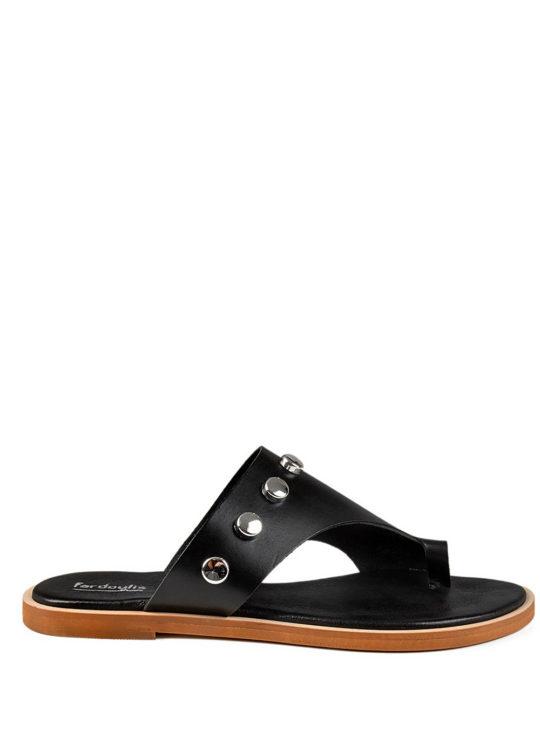 Μαύρα Δερμάτινα πέδιλα Fardoulis Shoes 210 Με τρουκς