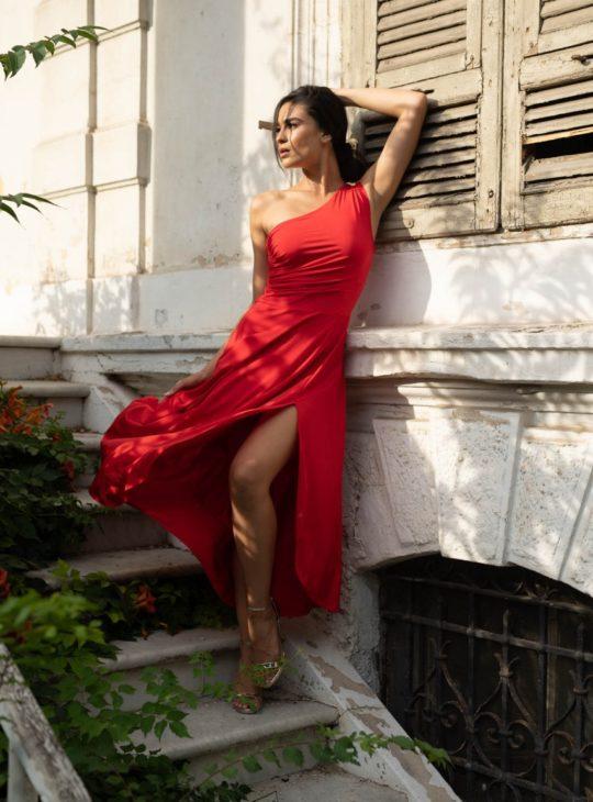 ANNASAMOUKA κόκκινο φόρεμα